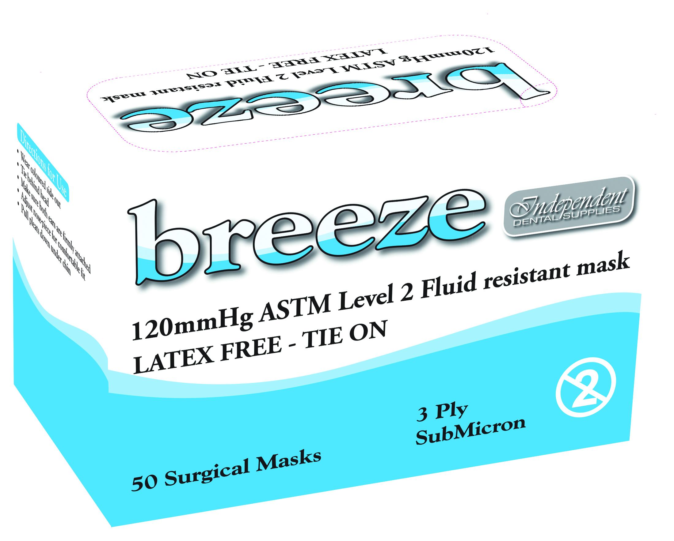 50 Dental Level Breeze Independent 2 Ids Masks Blue Tie-on